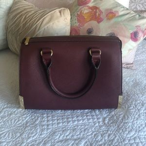 Maroon satchel purse and wallet